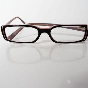 Bulgari Black and Pink Rectangular Eyeglasses